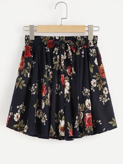 Shorts mit Blumenmuster und Gummiband Taille