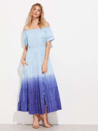 Ombre Off Shoulder Tiered Dress