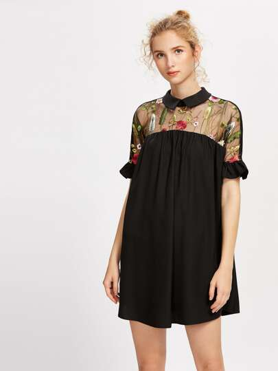 Embroidered Mesh Yoke Tie Back Ruffle Sleeve Smock Dress