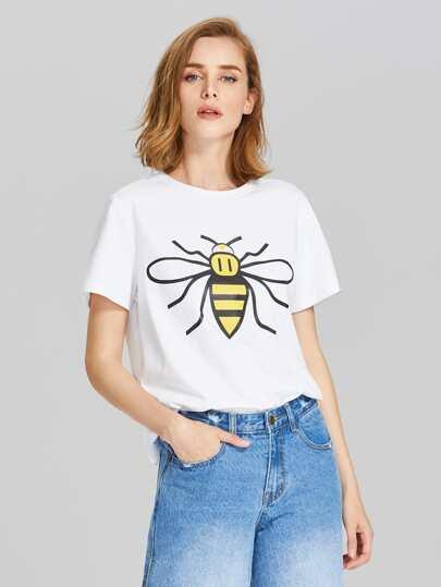 T-Shirt mit Bienemuster