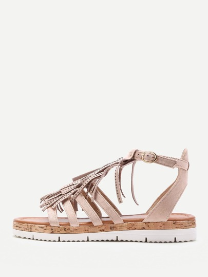Fringe Design Strappy Flat Sandals
