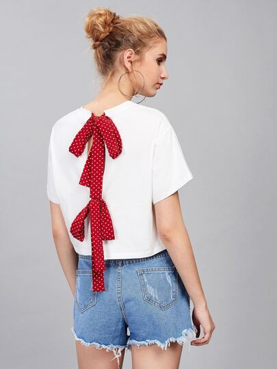 Polka Dot Bow Tie Split Back Crop Top