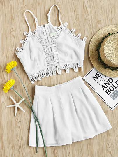 Lace Trim Cami Top And Box Pleated Shorts Set