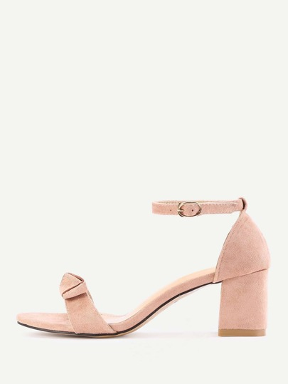 Bow Tie Two Part Block Heeled Sandals