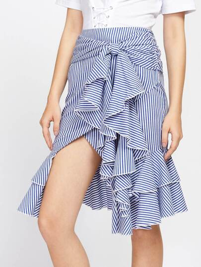 Knotted Waist Overlap Flounce Trim Skirt