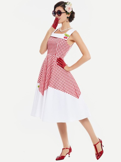 Contrast Checkered Cherry Detail Flare Dress