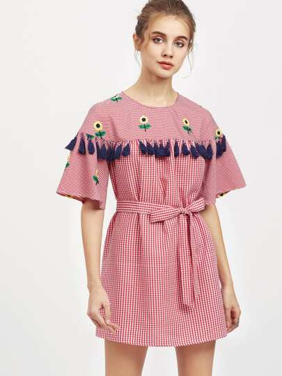 Vestido de guingán bordado de girasol con fleco con nudo