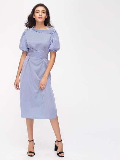 Kleid mit Bishopärmlen und Nadelstreifen