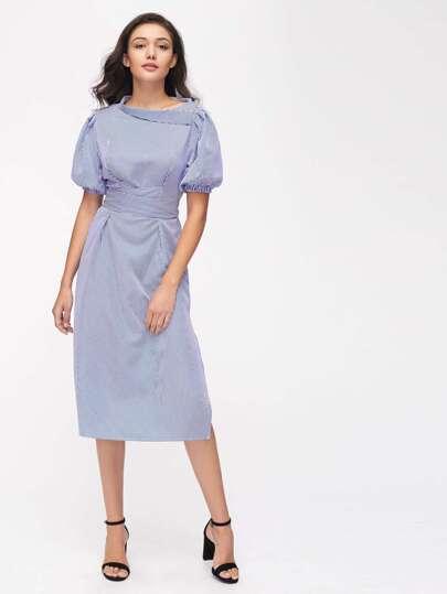Bishop Sleeve Asymmetric Foldover Neck Pinstripe Belt Dress