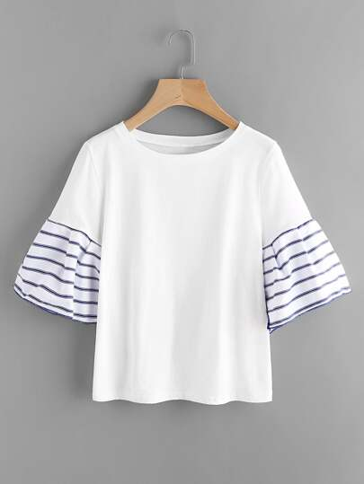 Contrast Striped Flute Sleeve Tee
