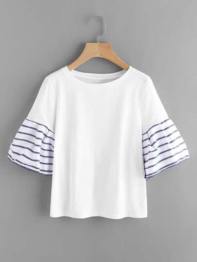 Tee-shirt manche papillon contrasté à rayures
