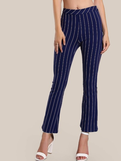 Stripe Print Flare Leg Pants NAVY