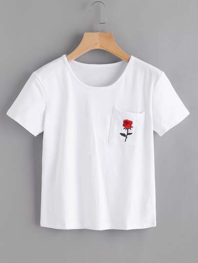 Rose Patch Pocket Tee