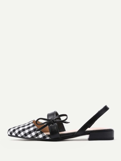 Gingham Point Toe Flats With Bow