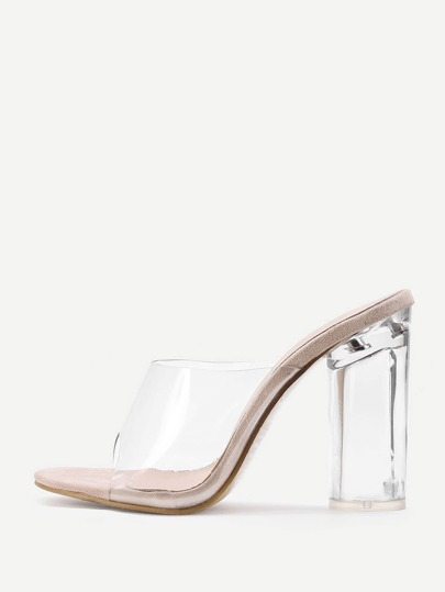 Clear Design Block Heeled Sandals
