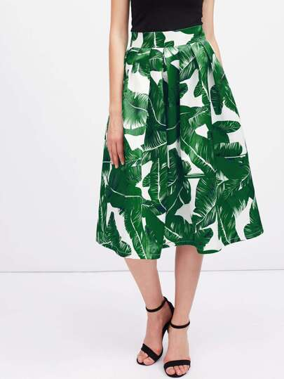 Foliage Print Box Pleated Midi Skirt