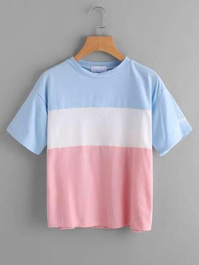 Tee-shirt color-block imprimé des lettres