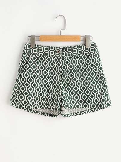 Shorts mit hoher Taille und Ikatmuster