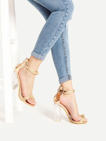 Braided Strap Metallic PU Block Heeled Sandals