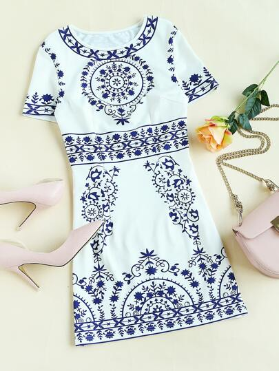 Porcelain Print Princess Seam Dress