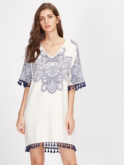 Porcelain Print Tassel Trim Dress