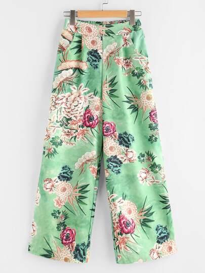 Pantalones con estampado floral al azar y espalda elástica