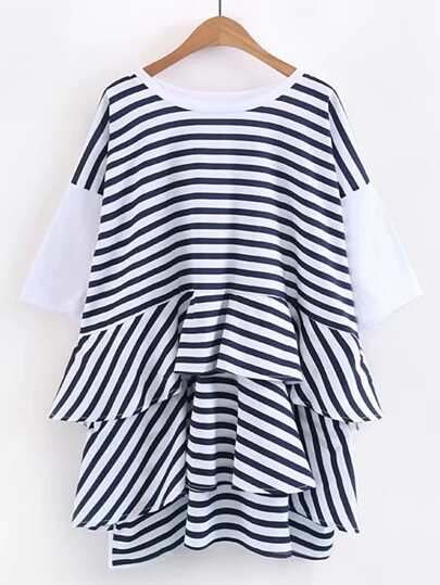 Contrast Striped Tiered Tee