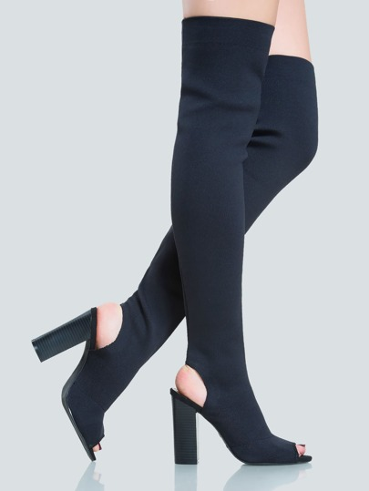 Stretch Knit Peep Toe Thigh Highs BLACK