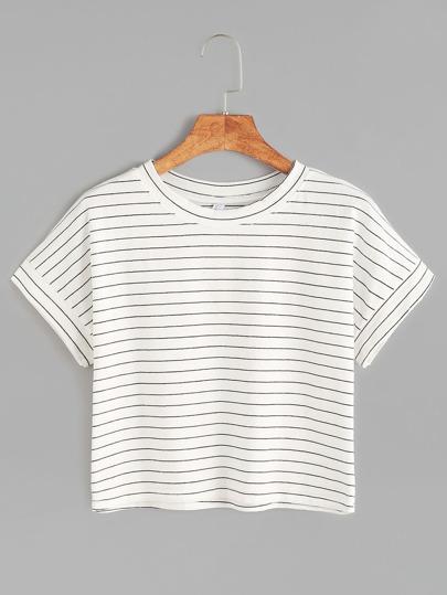 kurze T-shirt mit Streifen V-Ausschnitt-weiß