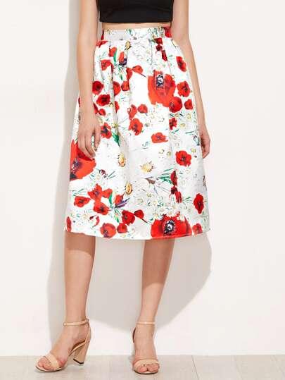 Falda plisada con estampado floral al azar