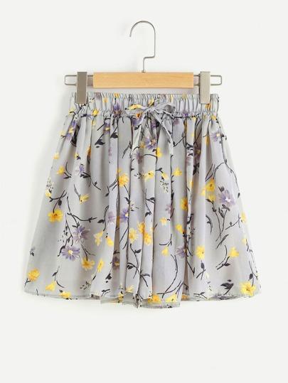 Floral Print Random Elastic Drawstring Waist Shorts