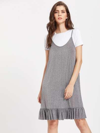 Frill Hem Glitter Cami Dress