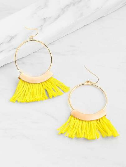 Tassel And Ring Design Drop Earrings