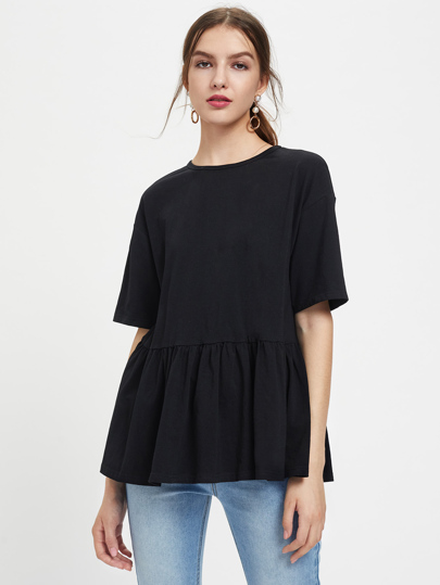 Drop Shoulder Frill Hem Tee