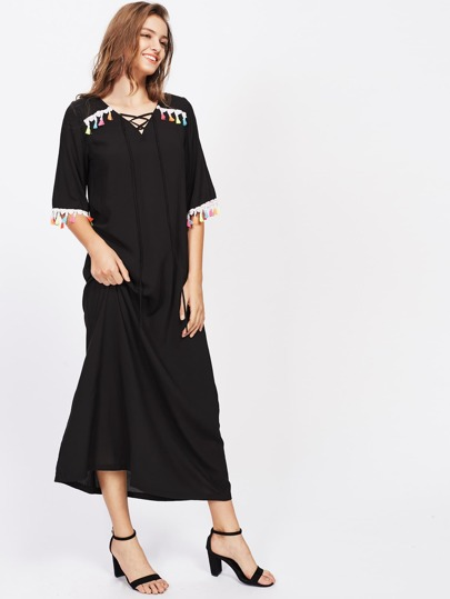 Lace Up Tassel Trim Below-Knee Hemlines Dress