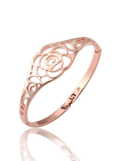 Metal Hollow Rose Design Bracelet