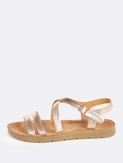 Metallic Instep Sandals ROSE GOLD