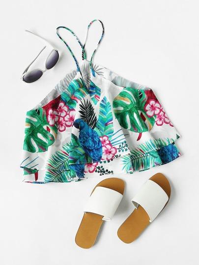 Tropical Print Layered Cami Top