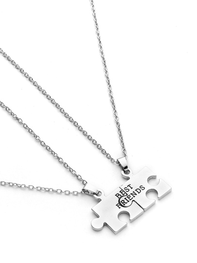 Geometric Puzzle Friendship Pendant Necklace 2pcs