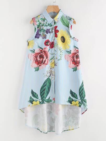 Random Florals Vertical Striped Dip Hem Shirt Dress