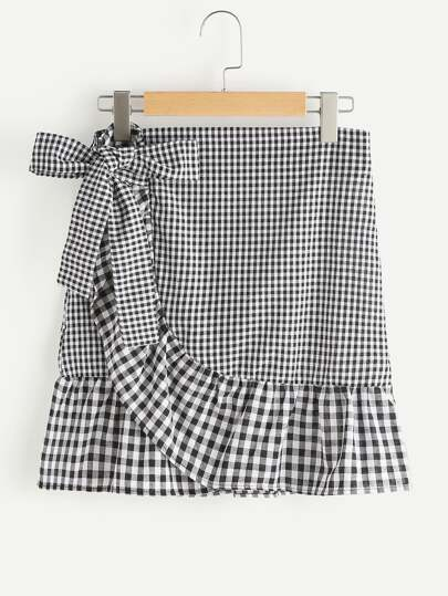 Gingham Layered Frill Hem Bow Skirt