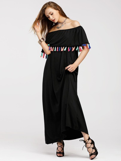 Flounce Layered Neckline Tassel Trim Dress