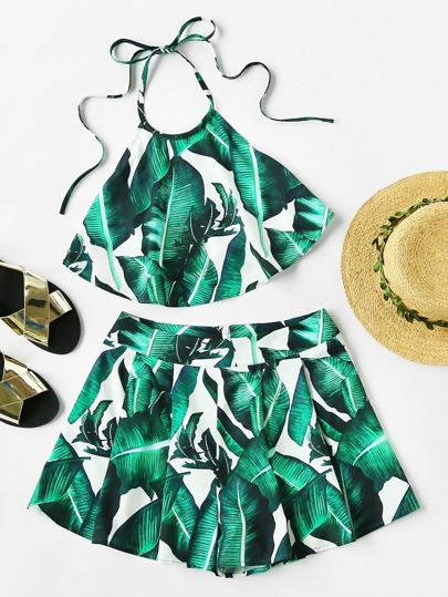 Foliage Print Halter Top And Box Pleated Shorts Co-Ord