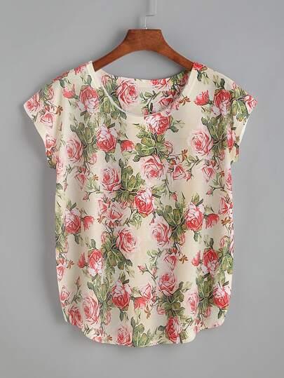 Camiseta estampada de rosa