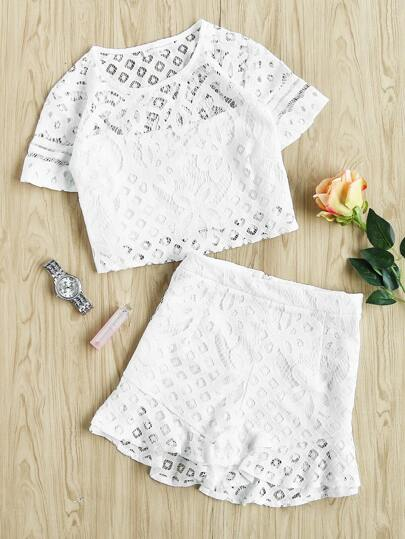 Lace Crop Top With Shorts