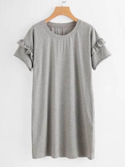 Marled Knit Drop Shoulder Frilled Sleeve Tee Dress