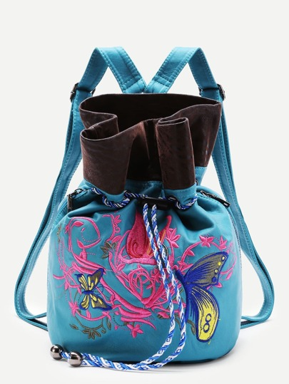 Butterfly Embroidery Drawstring PU Backpack