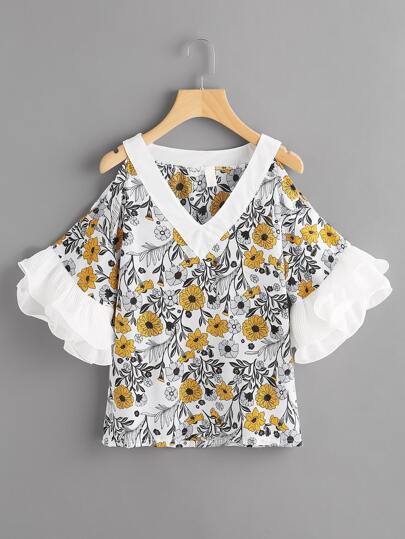 Contrast Tiered Frill Cuff Open Shoulder Random Florals Blouse
