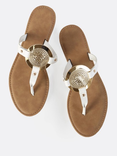 Faux Leather Gold Disc Sandals WHITE