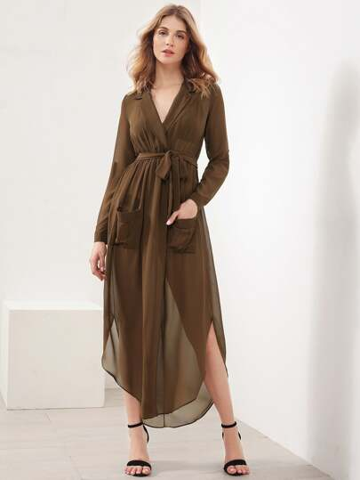 Roll-Up Sleeve Slit Side Curved Hem Chiffon Shirt Dress